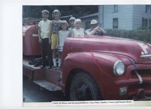 Chief Ed Bruce and the town's first fire engine