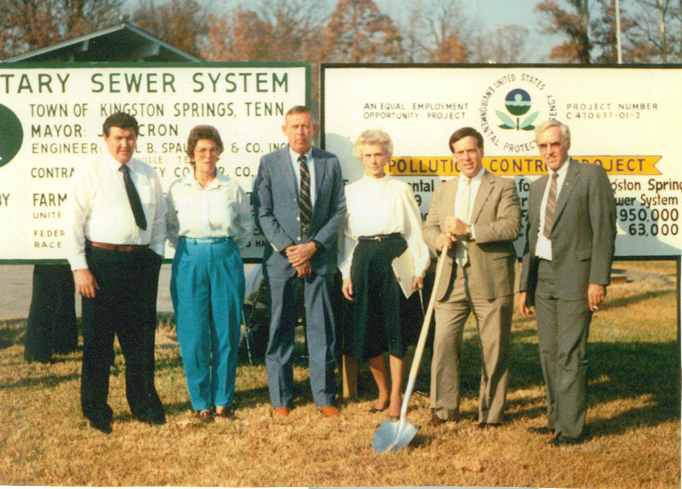 Town officials at the sewer groundbreaking in 1984